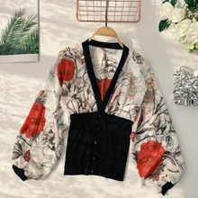 NiceMix 2019 new fashion womens blouse shirt spring and summer V-neck puff sleeves slim printed chiffon stitching