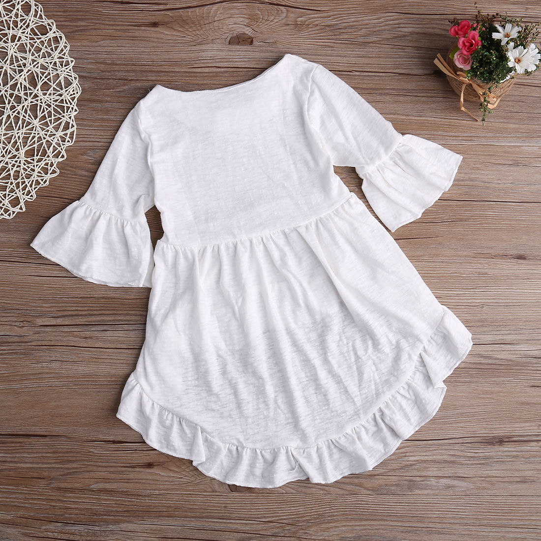 Girls Solid Color Clothing Top Blouses Baby Girls White Tops Ruffled
