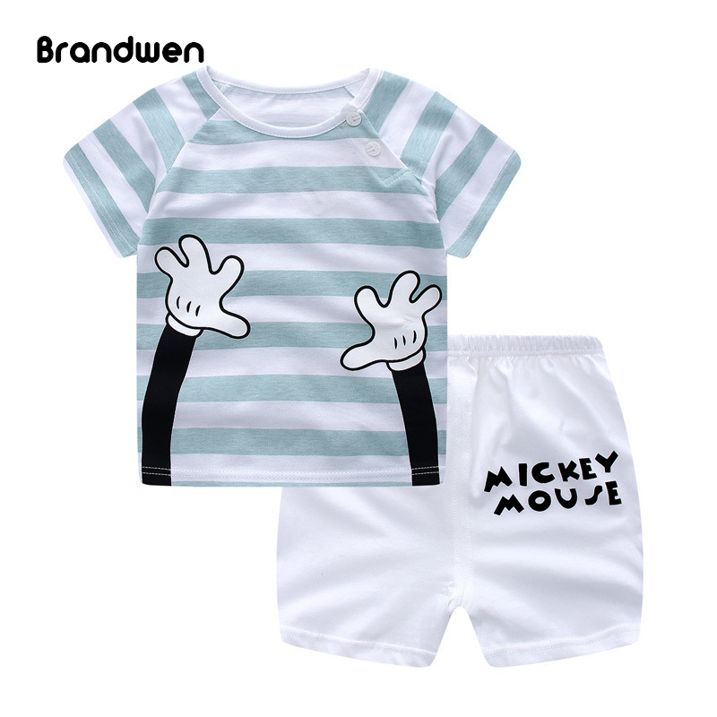 2017 Summer Baby Boys Girls Clothes Kids Short Sleeve Clothing Set Toddler Boys Short Sleeved T-Shirts+Children Shorts