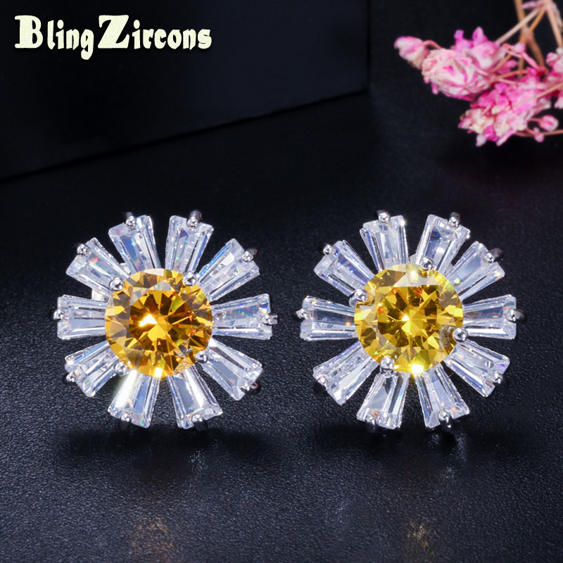 BlingZircons Lovely 925 Sterling Silver Chrysanthemum Flower Stud Earrings Yellow AAA Cubic Zirconia S925 Jewelry for Women E254