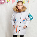 Buenos Ninos New Fashion Down Jacket Children Winter Hooded Thick  jackets Girl Long Warm Cartoon Coat Kids Grey Green Outerwear