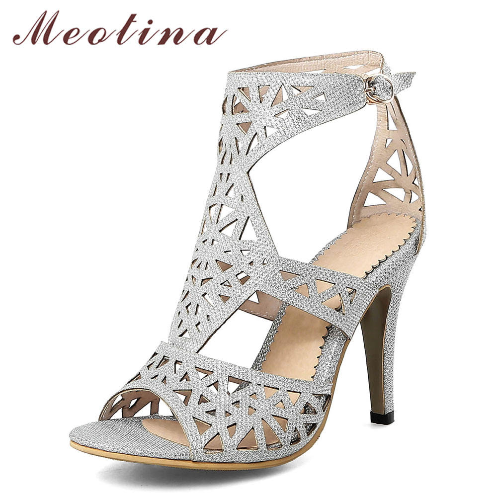 Meotina Women Sandals 2018 Summer High Heels Shoes Open Toe Gladiator Sandals Thin Heels Lady Party Shoes Silver Plus Size 33-43 women pointed toe buckle thin high heels red bottom sandals shoes t strap print leather plus size lady sandals 42 51 sxq0710