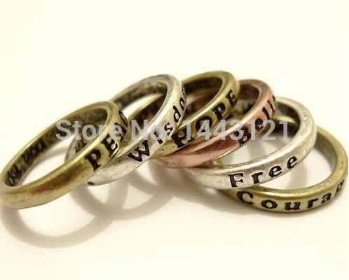 R142 vintage europejski i amerykański minimalistyczny retro napis pragnąc pierścień hot moda