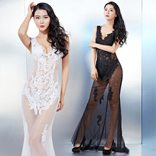 2017, new sexy V collar, self-cultivation nightclub dress captain, banquet dress, long auto show, X-ray outfit wholesale