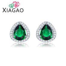 XIAGAO Pretty Blue Green Red Wedding Jewelry Water-drop Brinco Crystal  Ear Stud Earrings For Women Free Ship&Bag