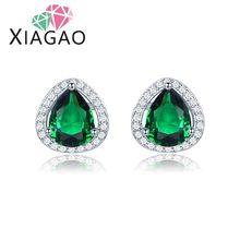 XIAGAO Pretty Emerald Ruby Sapphire Topaz Wedding Jewelry Water-drop Brinco Crystal  Ear Stud Earrings For Women Free Ship&Bag