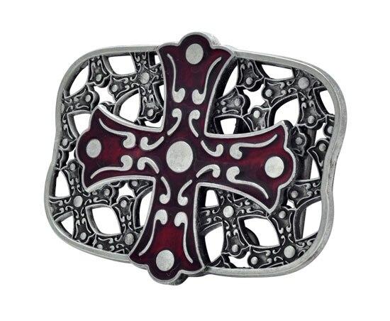 Red Celtic Iron Cross Maltese Belt Buckle