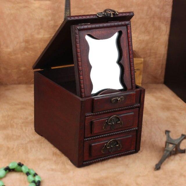 Antique Wooden Dressing Case Retro With Mirror Jewelry Box Make Up Organizer  Boxes Desktop Wood Box - Antique Wooden Dressing Case Retro With Mirror Jewelry Box Make Up
