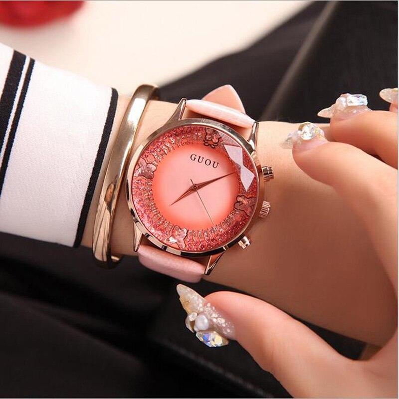 GUOU Uhren Frauen Top-marke Luxus Diamant Frauen Uhr Fashion Echtes Leder Quarzuhr Colck reloj mujer relogio feminino