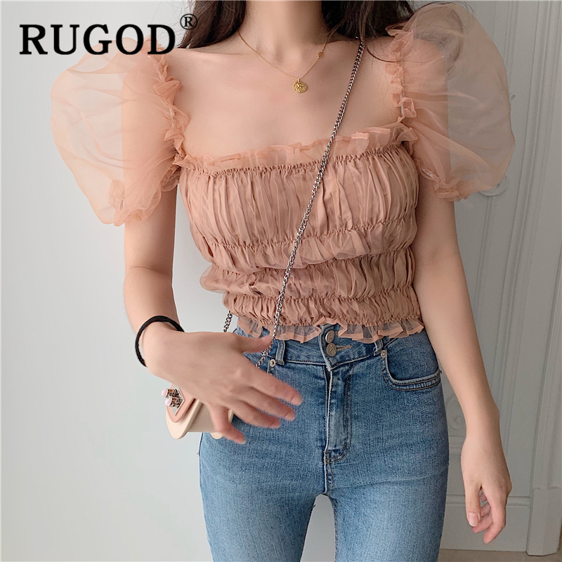 RUGOD Elegant Chiffon Ruffles Women Blouse Korean Chic Lace Patchwork Slim Tops Female Fashion Solid Sweet Girl Blouses 2019 New