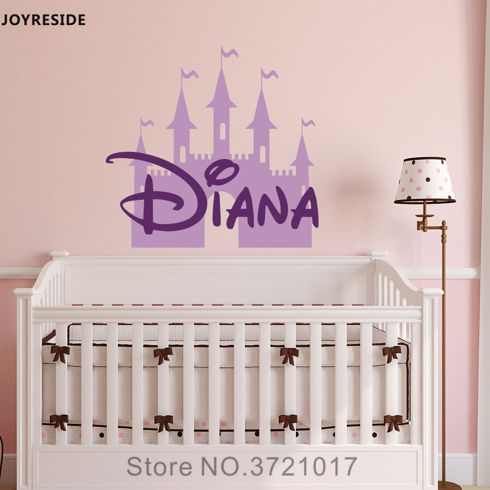 Joyreside Castle Wall Decal Vinyl Sticker Personalized Custom Name Decor Nursery Fairy Baby Kid Child Bedroom Design Xy059 In Stickers From Home