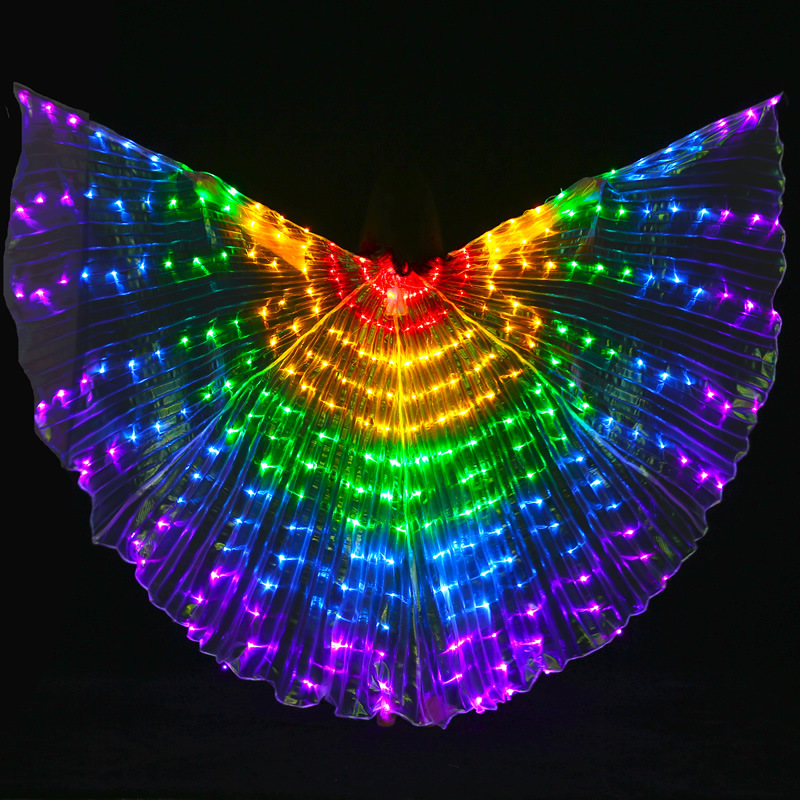 Радуга опора для выступлений для женщин танец интимные аксессуары обувь светодио дный девочек DJ LED крылья Light Up крыло костюм крылья бабочки ...