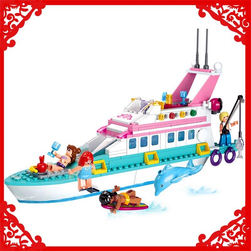 SLUBAN 0609 Block Compatible Legoe Dolphin Cruiser Vessel Ship Model 328Pcs DIY Educational  Building Toys Gift For Children midea mcbd 0609