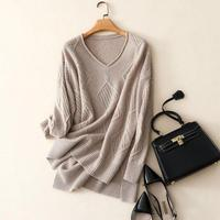 Shuchan Cashmere Sweater Women Fashion Autumn Pullovers Knit 100% Cashmere Female Sweater Women Loose Knit Hollow Out Jumpers