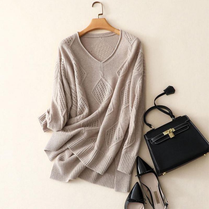 Shuchan pull en cachemire femmes mode automne pulls tricot 100% cachemire femme pull femmes lâche tricot évider pulls