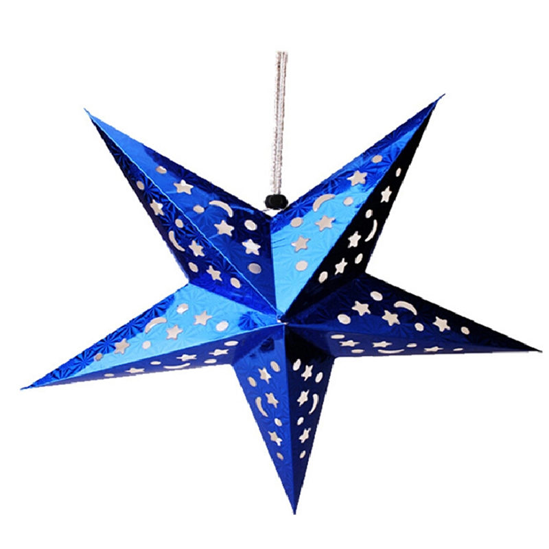 1PC Home Decor Christmas Tree Ornament Party Hanging Pentagram Lamp Shade Paper Star Decorations Xmas Tree Random Color in Party DIY Decorations from Home Garden
