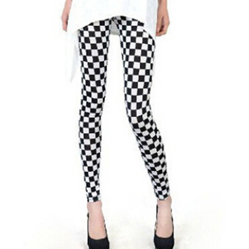 Black and White Vertical Striped Printed Women   Leggings   Fashion Casual Elasticity Ankle-Length Pant Female Fitness   Legging