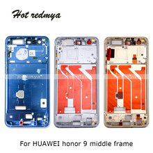 купить 1Pcs Middle Frame For Huawei Honor 9 Housing Middle Front Bezel Frame Plate Replacement Repair Spare Parts дешево