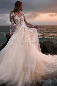 Image 3 - Сексуальное кружевное свадебное платье с аппликацией и длинным рукавом 2020 иллюзионное платье с высоким воротом и открытой спиной свадебное платье со шлейфом официальное платье