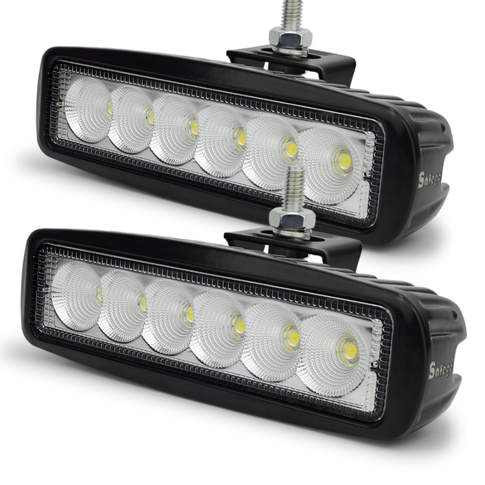 Safego 2x 12 Volt 18W LED work light bar lamp tractor work lights LED off road 4X4 24V led offroad light bar spot flood beam