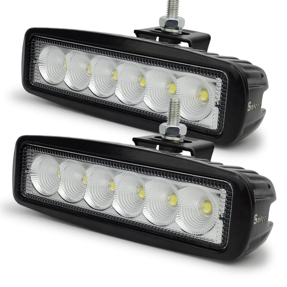 Safego 2x 12 Volt 18w Led Work Light Bar Lamp Tractor Lights Road 4x4 24v