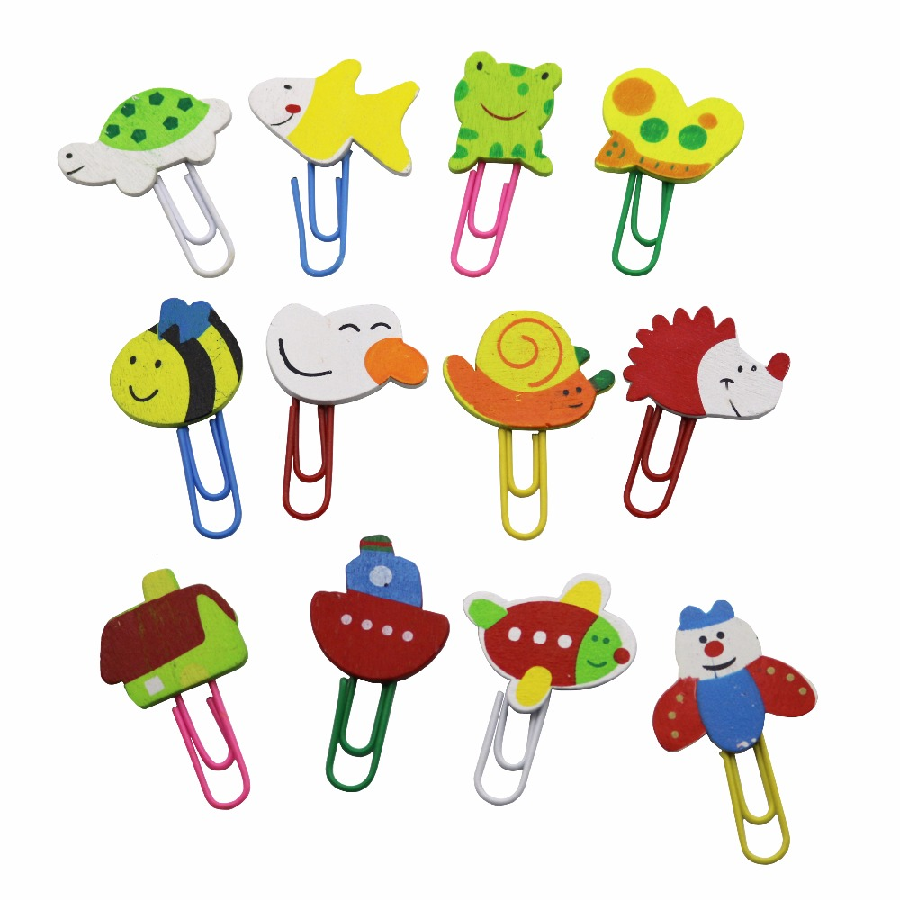 12 Pcs Creative Bookmark Korean Version Painted Wooden Cartoon Paperclip Cute Animal Paperclip School Office Supplies Stationery