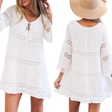 Lanxirui Dress New High Quality Summer Three Quarter Sleeve Loose Lace Boho Beach Short Mini Casual Women Feb7