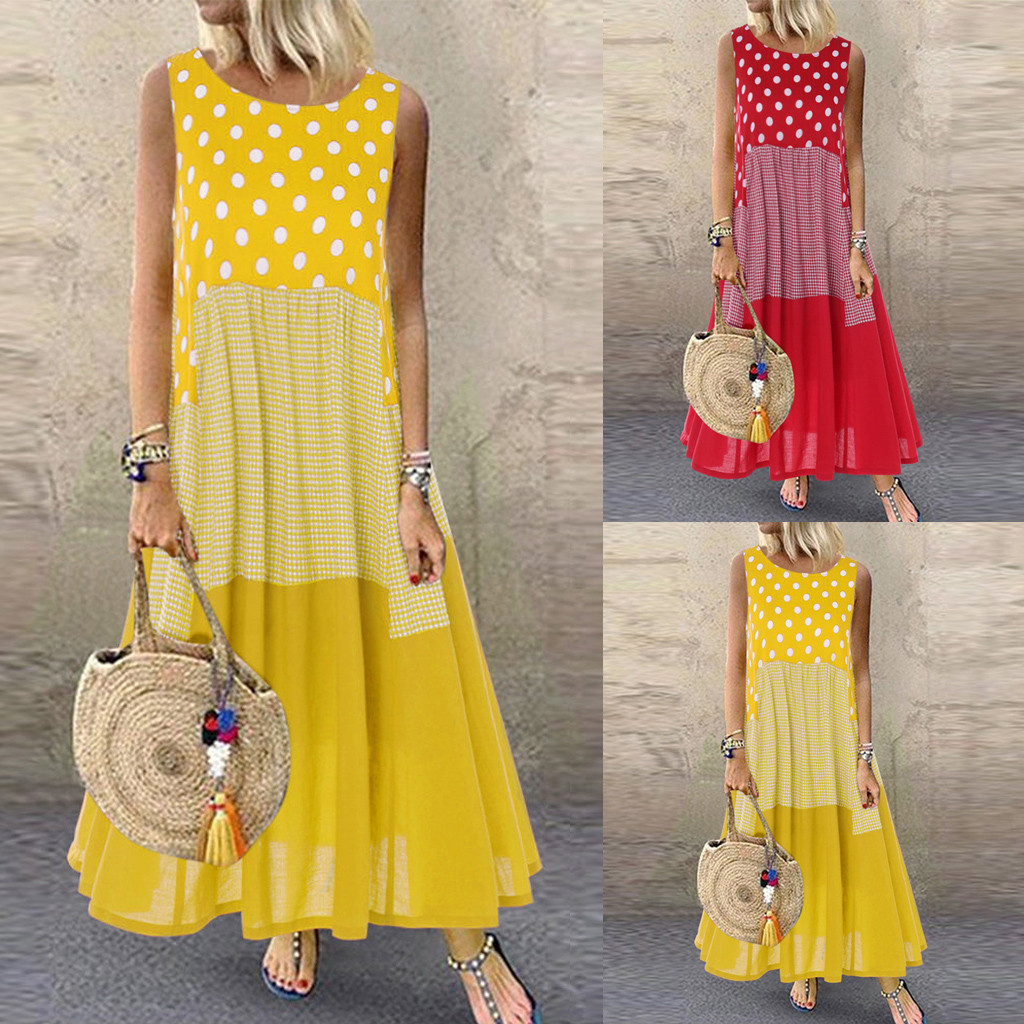 Women's Summer Dress O-neck Printed Holiday Dress T-shirt Cotton Casual Large Size Dress M-5XL Solid Color Loose Dress W0625#20
