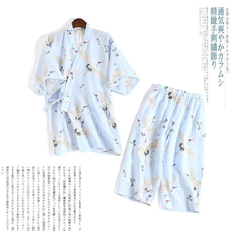Women Pure Cotton Pajamas Spring And Autumn Double-layer Gauze Short-sleeved Trousers Lovely Japanese Kimono Suits Home Clothing