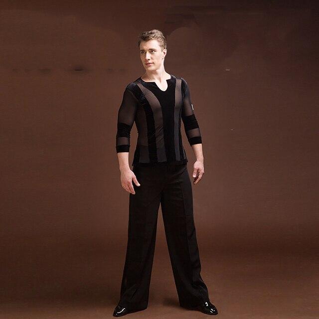 6072d03f6e7c1 Durable Latin Dance Tops For Males Black Color Plus Size Velvet Shirt  Classical Men Professional Ballroom Practice Clothes E021