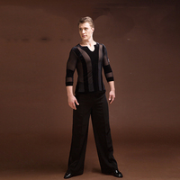 Durable Latin Dance Tops For Males Black Color Plus Size Velvet Shirt Classical Men Professional Ballroom Practice Clothes E021