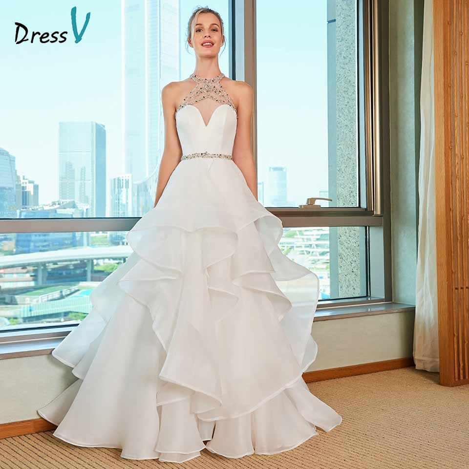 Dressv Halter Neck Wedding Dress Ball Gown Beading Cascading