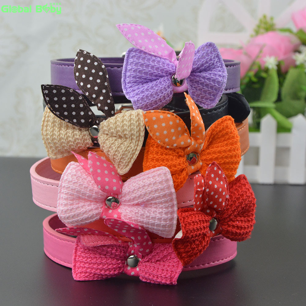 6 Colors 3 Sizes Fashion Pu Leather Small Dog Collar Pet Puppy Cat Necklace Collars with Butterfly Knot
