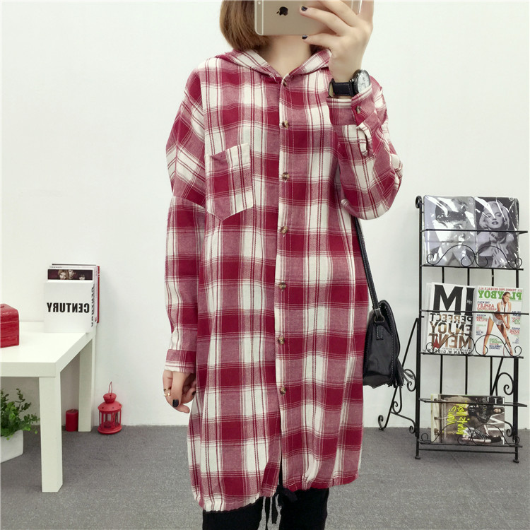 Brand Yan Qing Huan 2018 Spring Long Paragraph Large Size Plaid Shirt Fashion New Women's Casual Loose Long-sleeved Blouse Shirt 21