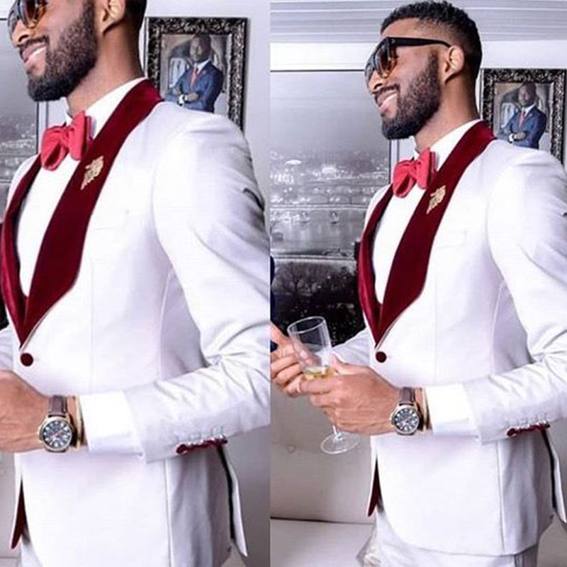 2020 Wedding Costume White Pants Men Suit Slim Fit Mens Tuxedo Two Piece Formal Party Suit Custom Made Grooms Suit For Man