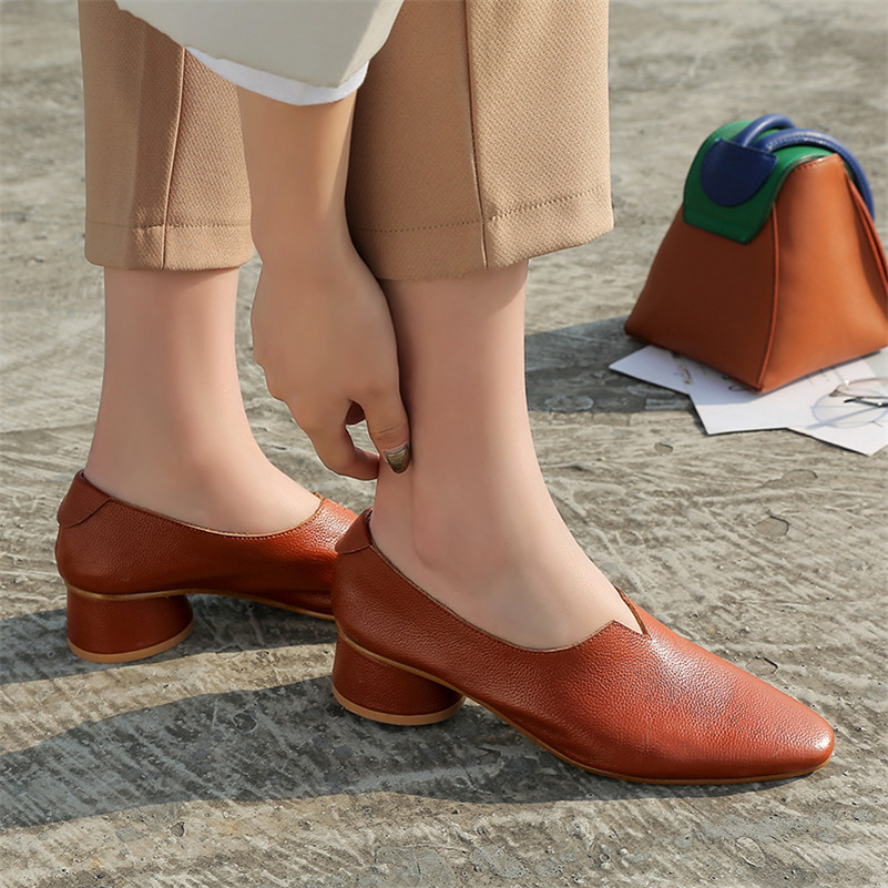 FEDONAS 1New Arrival Women Basic Pumps Spring Autumn Genuine Leather High Heels Shoes Woman Round Toe Brand Design Shallow Pumps