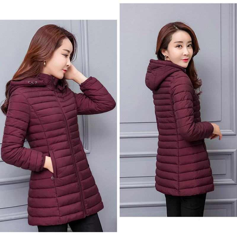 Image 2 - winter jacket women parka Large size Thicken warm Hooded long Slim Solid Down cotton coat jacket women Outwear Parkas-in Parkas from Women's Clothing