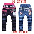 Cute Cartoon Pattern Kids Jeans Winter Autumn 2 items Lovely Cat High Quality Children Pants Casual trouses Baby Girls Jeans