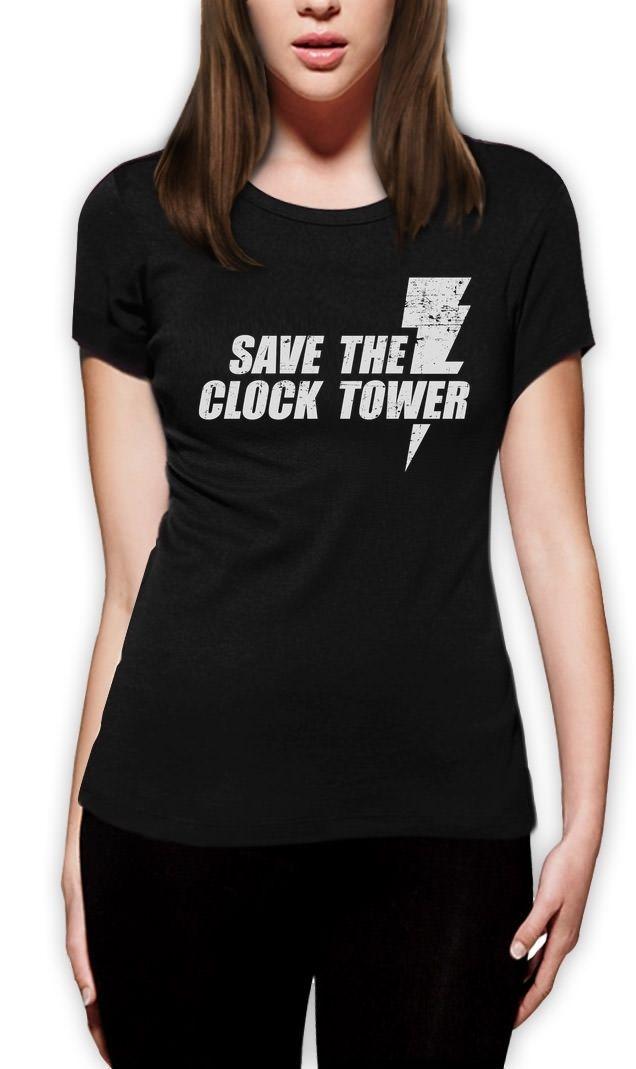 Сохраните Часовая башня-путешествие во времени-смешной фильм Для женщин футболка будущее день модный бренд Hipster Тонкий Топ