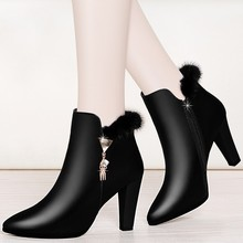цена на Spuer High Heel Female Woman Fashion Elegant Ankle Boots Autumn Genuine Leather Boots Spring Sexy Lady Thin Heels Shoes YG-A0008