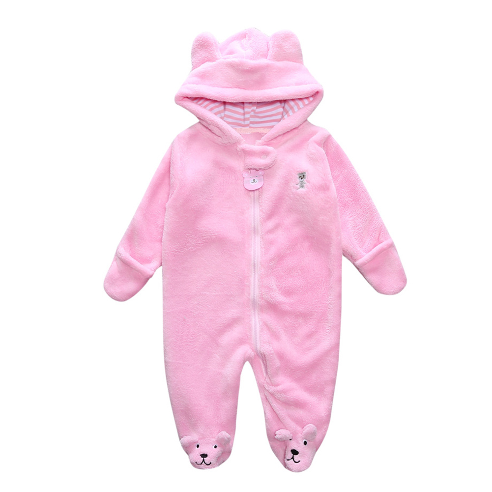 New Autumn Winter Baby Boy Rompers Cartoon Coral Velvet Warm Hoodies Girls Newborn Bebe Jumpsuit Cute Clothes Kids Snowsuit