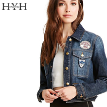 HYH HAOYIHUI Fashion Denim Jacket For Women Winter Short Jackets Long Sleeve Street Style Y5230539