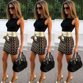 Женщины Boho сексуальная Bodycon , платья-линии 2016 лето жилет пояса полосатый принт платье топ мода готический Vestidos AX173