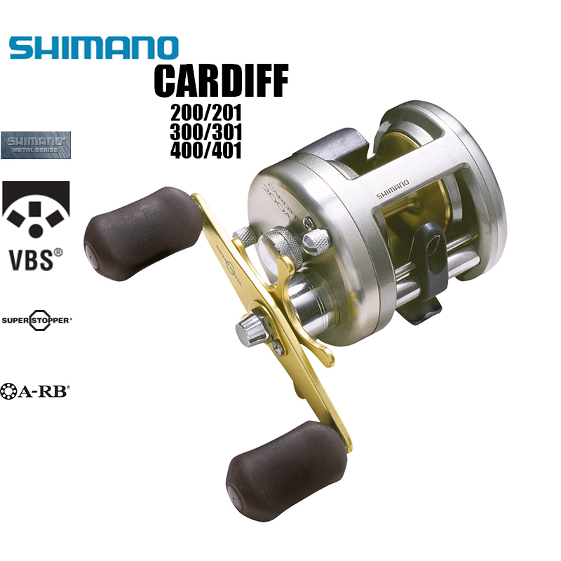 SHIMANO Cardiff 200A 201A 300A 301A 400A 401A Left Right Handle Cast Drum WheelSaltwater Spinning Fishing