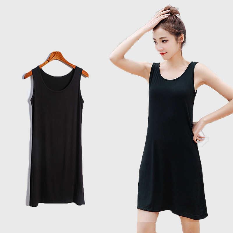 Sommer Modal Kleid Weibliche Bodenbildung Futter Oansatz Ärmelloses Shirt Lose Äußere Tragen Weste Unter Kleider