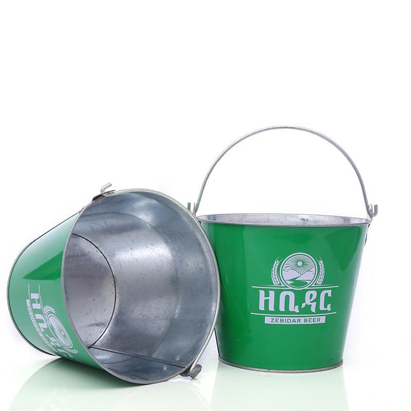 8l Groene Kleur Draagbare Bar Metalen Ijsemmer Wijn Drankjes Koeler Bier Koeler Vat Ice Cube Houder Deksel Barbenodigdheden Ktv Accessoires Helder In Kleur