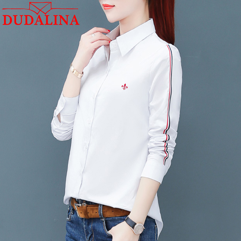 DUDALINA Women Long Sleeve Shirt 100% Cotton Fashion Casual Solid Lapel Long Sleeve Shirt Women Full Slim Fit Shirt Size S-2XL