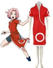 Free Shipping font b Naruto b font Sakura Haruno Cheong Sam Anime font b Cosplay b