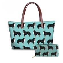 NOISYDESIGNS Womens Handbags Luxury Women Bags Designer Bernese Dog Printing Wallets and for Ladies Beach Bag