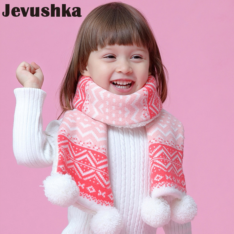Winter Warm Pompom Baby Scarf for Girls Knitted Children Scarves  SF009
